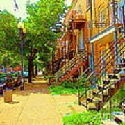 Montreal Stairs Winding Staircases And Sunny Tree Lined Sidewalks Verdun Scenes Carole Spandau  Art Print