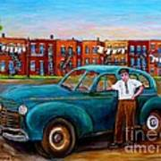 Montreal Taxi Driver 1940 Cab Vintage Car Montreal Memories Row Houses City Scenes Carole Spandau Art Print
