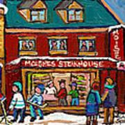 Montreal Winter Hockey At Moishes Art Print