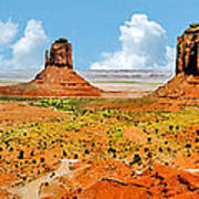 Monument Valley In Spring Panoramic Painting Art Print