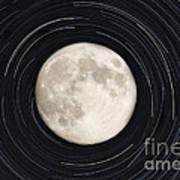 Moon And Startrails Art Print