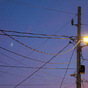 Moon And Wires Art Print