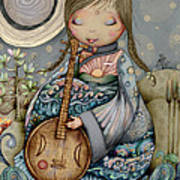 Moon Guitar Art Print