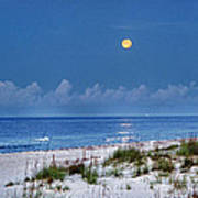 Moon Over Beach Print by Michael Thomas