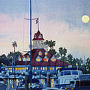 Moon Over Coronado Boathouse Art Print