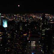Moon Over New York City Art Print