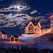 Moon Over Nubble Art Print by Michael Blanchette