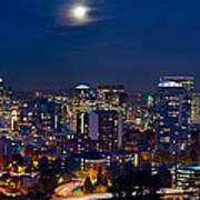 Moon Over Portland Oregon City Skyline At Blue Hour Art Print