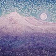 Moon Over Snowy Peaks Art Print