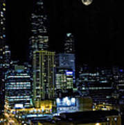 Moon Rise Over Downtown Chicago And The Willis Tower #2 Art Print
