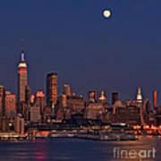Moon Rise Over Manhattan Art Print