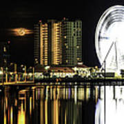 Moon Rise Over Pensacola Art Print