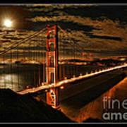 Moon Rise San Francisco Golden Gate Bridge Art Print
