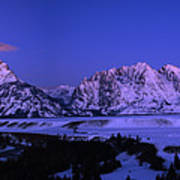 Moon Sets Over Behind The Tetons Panorama Art Print