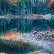 Moon Setting Fall Foliage Reflection Art Print