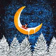 Moon Sledding Art Print