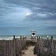 Moonlight Drama On The Beach Art Print
