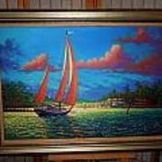 Moonlight Harbor Art Print