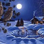 Moonlight Magig-great Horned Owls Art Print