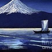 Moonlight On Fujiyama Art Print