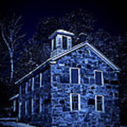 Moonlight On The Old Stone Building  Art Print