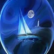Moonlight Sail Art Print