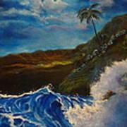 Moonlit Wave 11 Art Print