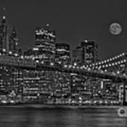 Moonrise Over The Brooklyn Bridge Bw Art Print by Susan Candelario