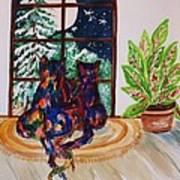 Moonstruck Cats - Winter Wonderland Art Print