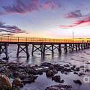 Moonta Bay Jetty Sunset Art Print by Shannon Rogers