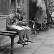 Boys Reading Comics In Moore Street Dublin Art Print