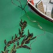 Moored Boat And Kelp Art Print