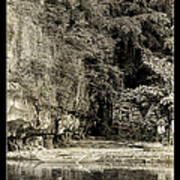Moored Boat By The River In Tam Coc Art Print