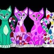 More Colorful Kitties Art Print