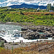 Moricetown Falls And Canyon Fishing Operation On The Bulkley River In Moricetwown-british Columbia  Art Print