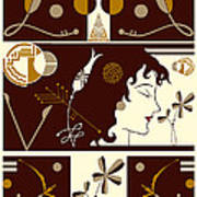 Morioka Montage In Brown And Gold Art Print