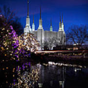 Mormon Church At Christmas Art Print