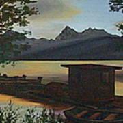 Morning At Lake Mcdonald Glacier Park Art Print