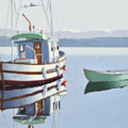 Morning Calm-fishing Boat With Skiff Art Print