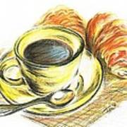 Morning Coffee- With Croissants Art Print