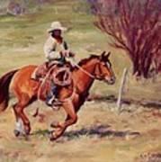 Morning Commute Working Cowboy Western Art Art Print