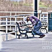 Morning Exercise On The Boardwalk Art Print