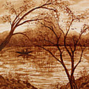Morning Fishing Original Coffee Painting Art Print