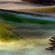 Morning Fog Over Two Rock Valley Diptych Art Print