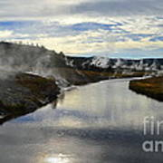 Morning In Upper Geyser Basin In Yellowstone National Park Art Print