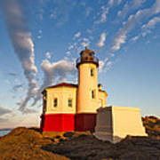 Morning Light At Coquille River Lighthouse Art Print