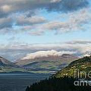 Morning Light On Lake Wakatipu And The Mountains Art Print