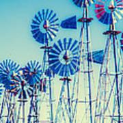 Morning Light On  The Blue Windmills Art Print