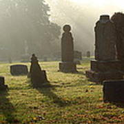Morning Mist At The Cemetery Art Print