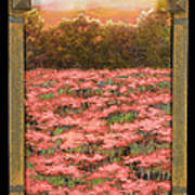 Morning Poppy Fields With Gold Leaf By Vic Mastis Art Print